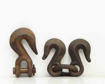 3 Vintage Hooks Industrial Factory Steampunk Assemblage Supply Handling Hoist Repurpose