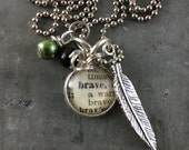 Mini Dictionary Word Necklace - BRAVE