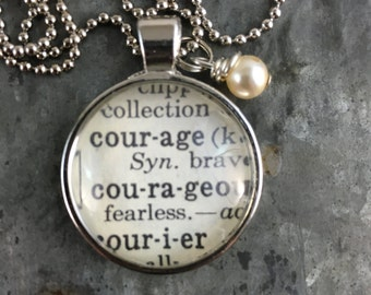 Dictionary Word Necklace - Courage