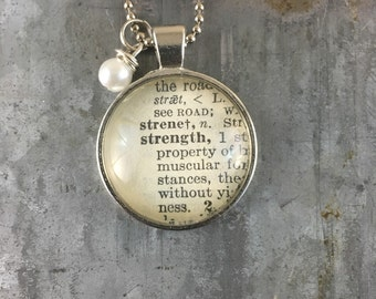Dictionary Word Necklace - Strength