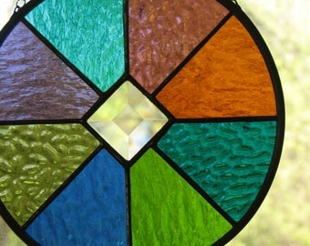Stained Glass Circle Multicolored Suncatcher