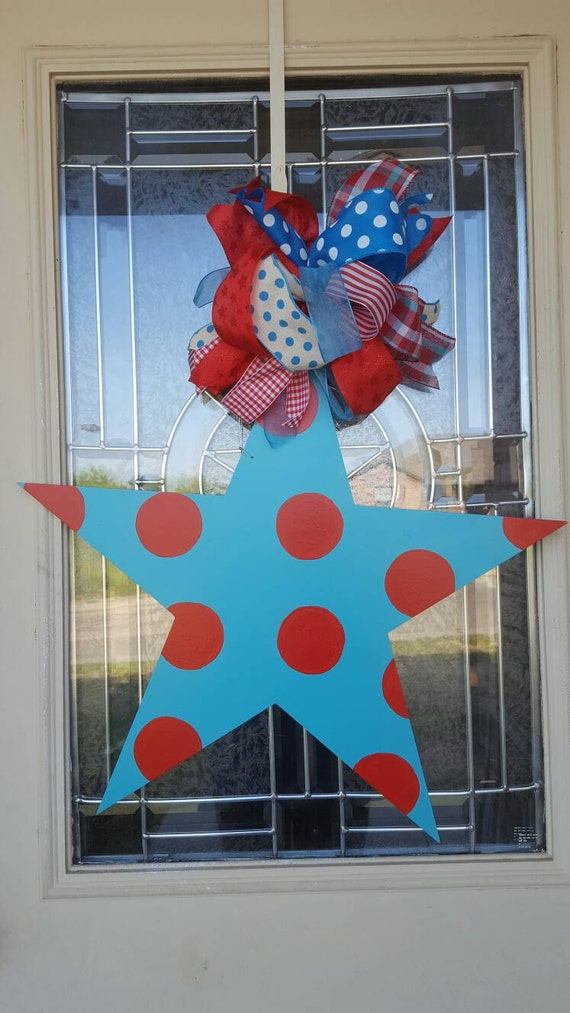 Turquoise Star Wood Door Hanger July 4th Fourth Of July