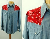 Mens vintage western shirt blue chambray red bandana by Bellcraft Size XL