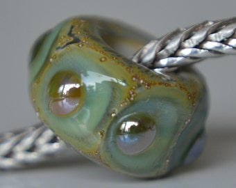 Silver Core Options - Handmade Lampwork Glass European Charm Bead with Silver Foil and Silver Glass - Fits all charm bracelets