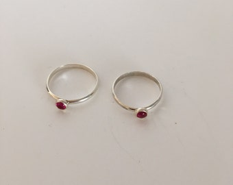 Sterling silver ring with created ruby