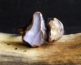 Raw Amethyst Ring, Raw Crystal Ring, Rough Stone Ring, Copper Topaz Ring, Midwest Alchemy,  Size 5.5, February Birthstone