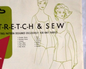 Vintage 70's One piece swimsuit sewing pattern.   Stretch & Sew #1300.   1970s.  RARE.  Uncut.  Ladies Sizes 14, 16, 18.    Instructions.