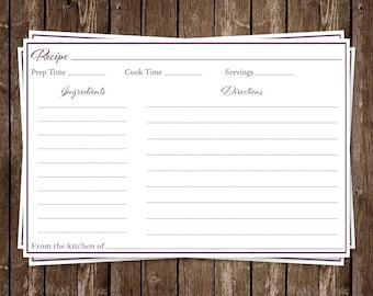 Bridal Shower, Recipe Card, plum, Wedding, Dress, Purple, New Bride,  Housewarming, 24 Printed Cards, FREE Shipping, SIGOL, Simple Gown