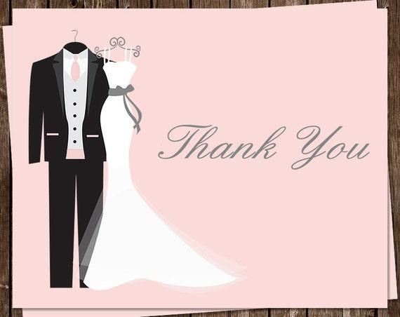 Wedding Bridal Shower Thank You Cards Dress Tux Pink
