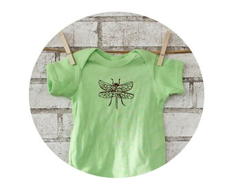 Dragon Fly Bug Baby One piece, Screen-printed Key Lime Green, Dragonfly onepiece, Bright Neon, Short Sleeved, Baby Shower Gift, Insect Top