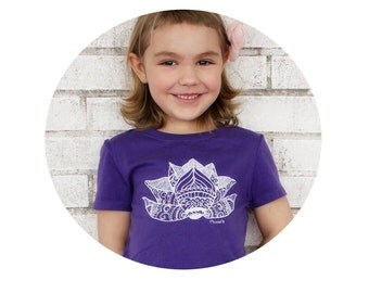 Lotus Flower T Shirt, Screenprinted Shirt, Youth Girls Fitted Crewneck Tshirt, Hand Printed Graphic Tee, Water Lily, Yoga Children, Purple