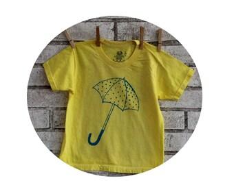 Childrens Umbrella tshirt , cotton crew neck tee shirt, Yellow, Spring, April Showers, Youth T Shirt, Kids Clothing,  Its Raining, Pouring