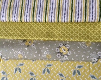 Denyse Schmidt Hope Valley OOP rare, remnant bundle, Piney Woods, yellow green fabric, please read