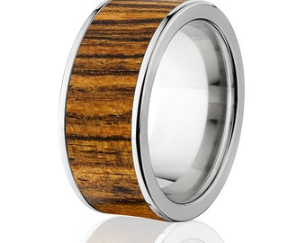 New Bocote Wood Rings, Exotic Hard Wood Wedding Band w/ Comfort Fit: 10F_Bocote Wood