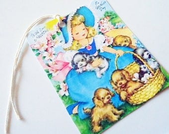 Retro Girl N Puppies - Gift Tags - Set Of 3 - Mother's Day Tags - Girl In Blue - Spaniel Puppies - Retro Mother's Tags - Vintage Look