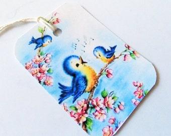 Retro Bluebird Tags - Set Of 3 - Spring Bluebirds - 1950's Bluebirds - Birds Of Happiness - Gift Tags - Mid Century  Bird - Birds N Blooms-