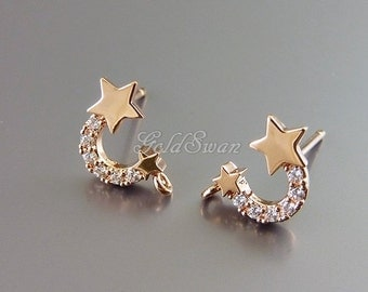 2 rose gold small twin shooting star earrings, cute CZ studded star earrings, earring findings 2067-BRG