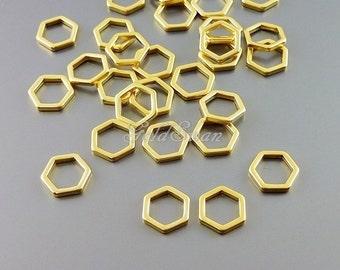 4 honeycomb / hexagon 7mm matte gold charms, minimal geometric jewelry pendant 937-MG-7