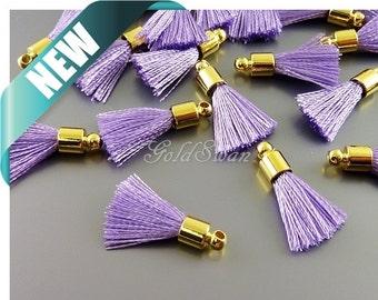 4 lavender purple short 12mm tassel charms, tassel necklace charm 2049G-LA