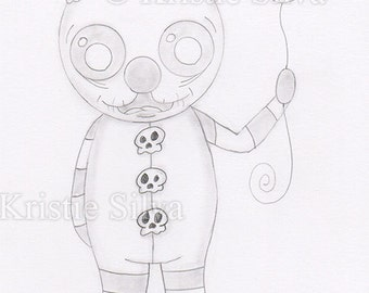 Shadows of a Clown 5x7 Original Drawing by Kristie Silva big eyed monster creature