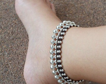 Silver Bell Dangle Anklet