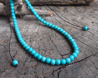 Turquoise Adjustable Double Wrap Bracelet, Necklace, 6mm beads
