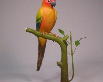 "11"" Sun Conure Bird Carving Wood"