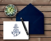 Personalized - ANCHOR MONOGRAM  - Note Card - Personalized Stationery - Stationery Set - Wedding Stationery