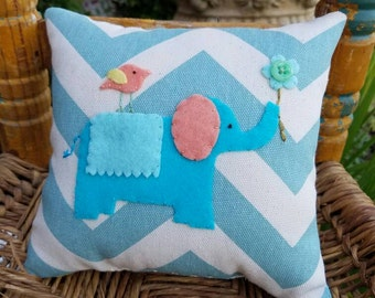 Turquoise  Elephant Tooth Fairy Pillow for girl on Chevron