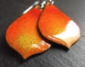 Orange and green enamel earrings, enamel on copper, teardrop earrings, copper enamel jewelry, torch enamel jewelry, colourful earrings