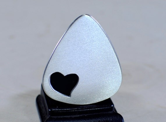 Love Guitar Pick Handmade Aluminum with Heart Cut Out - GP659