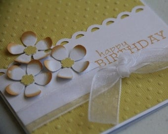 Birthday Card Embossed Dots with Flowers, Happy Birthday Greeting Card with Flowers, Dandelion Yellow Bright Cheery Birthday  (EBD1602)