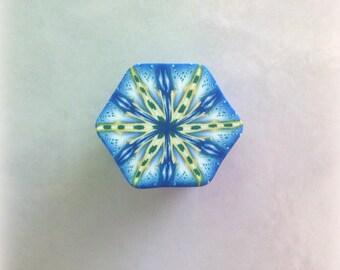 Polymer Clay Kaleidoscope Cane Blue, Gold, Green, White No. 2322