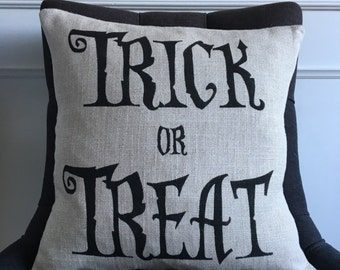 Halloween pillow cover Trick or Treat linen pillow cushion cover
