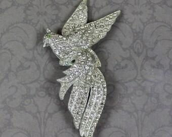 Vintage Pot Metal Rhinestone Flying Bird Brooch