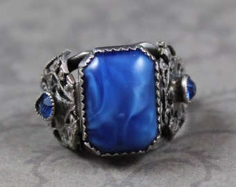 Vintage Silver Filigree Blue Faux Stone Ring Size 5.75
