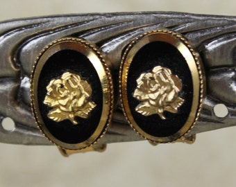 Vintage Black and Gold Floral Oval Cameo Clip On Earrings