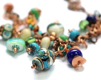 Lampworked Beaded Bracelet/ Copper Beaded Bracelet/ Turquoise and Ivory/ Mykonas Green Patina Fish Clasp