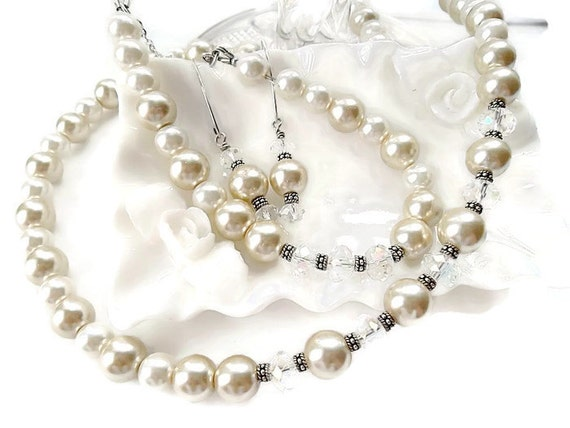 Wedding/ Pearl 3 Piece Bridal Set/Bridal Jewelry/White and Champagne/Sterling Silver