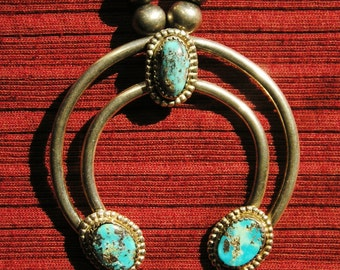 Southwest Sterling Silver Turquoise Naja Necklace