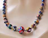 Vintage Millefiore Necklace Italian Glass Beads of a Thousand Flowers
