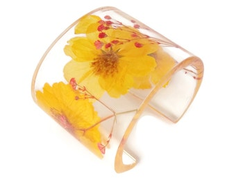 Cosmos and Red Baby's Breath Contemporary Eco Resin Cuff.  Handmade Resin Bracelet. Real Flowers Resin Jewelry.