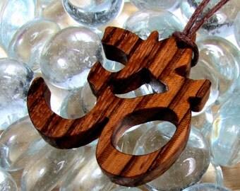 Yoga  / Om or Aum Symbol / Pendant  / Charm / Zebra Wood