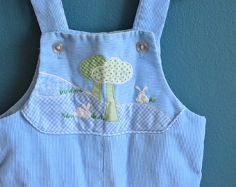 Vintage Baby's Blue Corduroy Overalls with Trees and Embroidered Rabbits - Size 6-9 Months