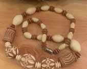 Beautiful Art Deco Textured Cream and Coco Brown Celluloid Vintage Necklace Art Deco Jewelry