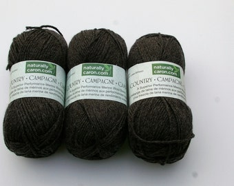 Naturally Caron Country Yarn Charcoal Grey 3 Skeins