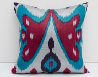 Buterfly design, ikat pillow cover, red and blue color, ikat cushion, sofa pillow, accent pillow, blue and gray pillow, blue pillow