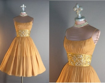 50s dress 1950s vintage GOLD SATIN CHIFFON dreamy salted caramel sequin beaded party prom cocktail dress