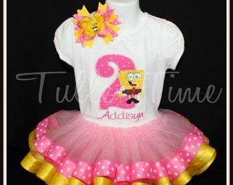 1st 2nd 3rd 4th Number Spongebob birthday ribbon tutu dress size 12m 18m 2t 3t 4t 5t 6 7/8 sponge bob