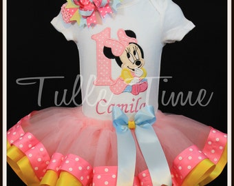 1st First Baby Minnie Mouse birthday onesie ribbon trim tutu dress size 6-12m, 12m or 18 m